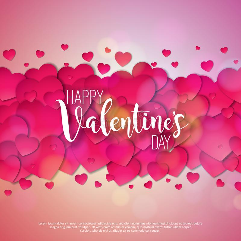 Diseño feliz del día de tarjetas del día de San Valentín con el corazón rojo en fondo rosado brillante Boda del vector y ejemplo  libre illustration