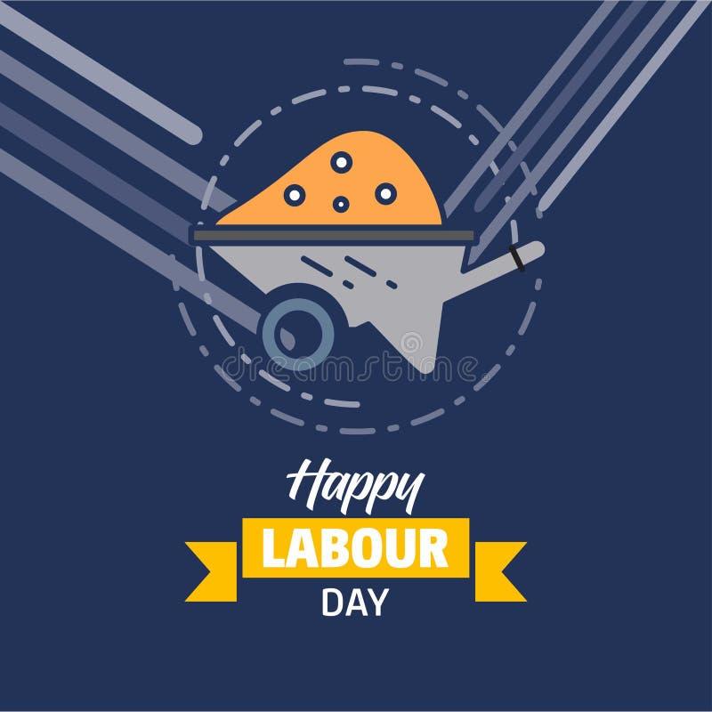 Diseño feliz del día de trabajo con vector amarillo y azul del tema con c ilustración del vector
