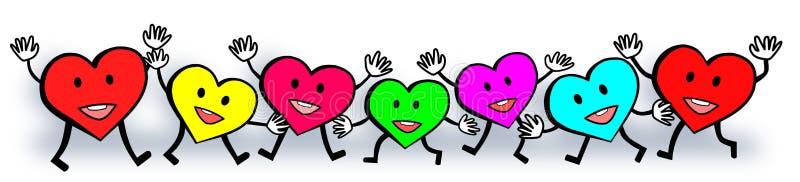 Diseño feliz del día del ` s de la tarjeta del día de San Valentín del amor colorido de los corazones stock de ilustración