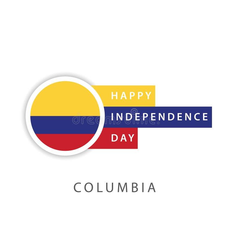 Diseño feliz Illustrator de la plantilla del vector del Día de la Independencia de Columbia stock de ilustración