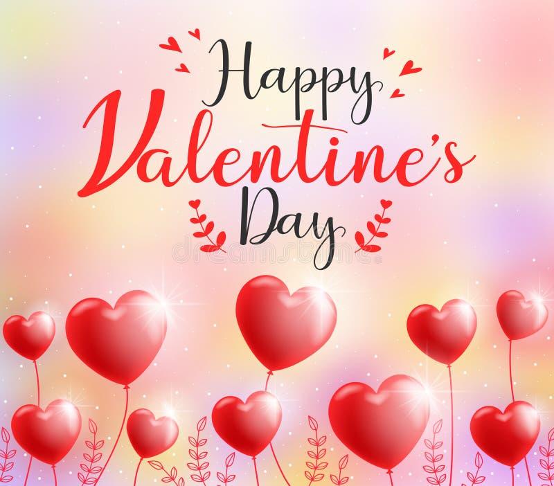 Diseño feliz lindo de la tarjeta de felicitación de la caligrafía del día de tarjetas del día de San Valentín ilustración del vector