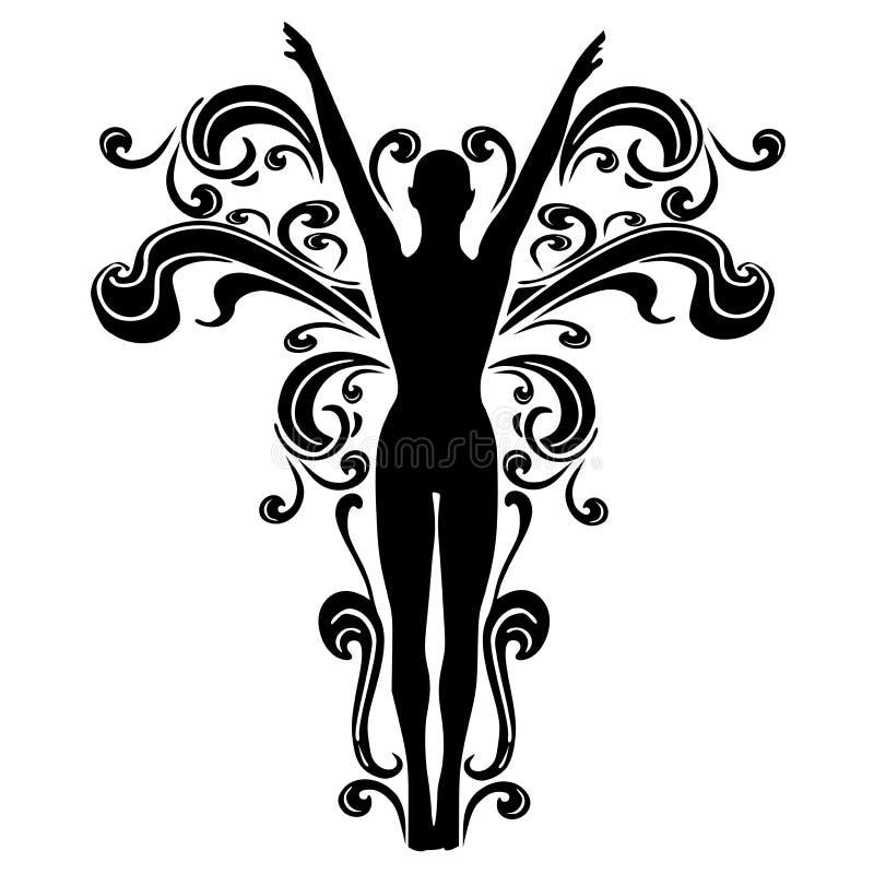 Diseño femenino 2 del tatuaje de los Flourishes ilustración del vector