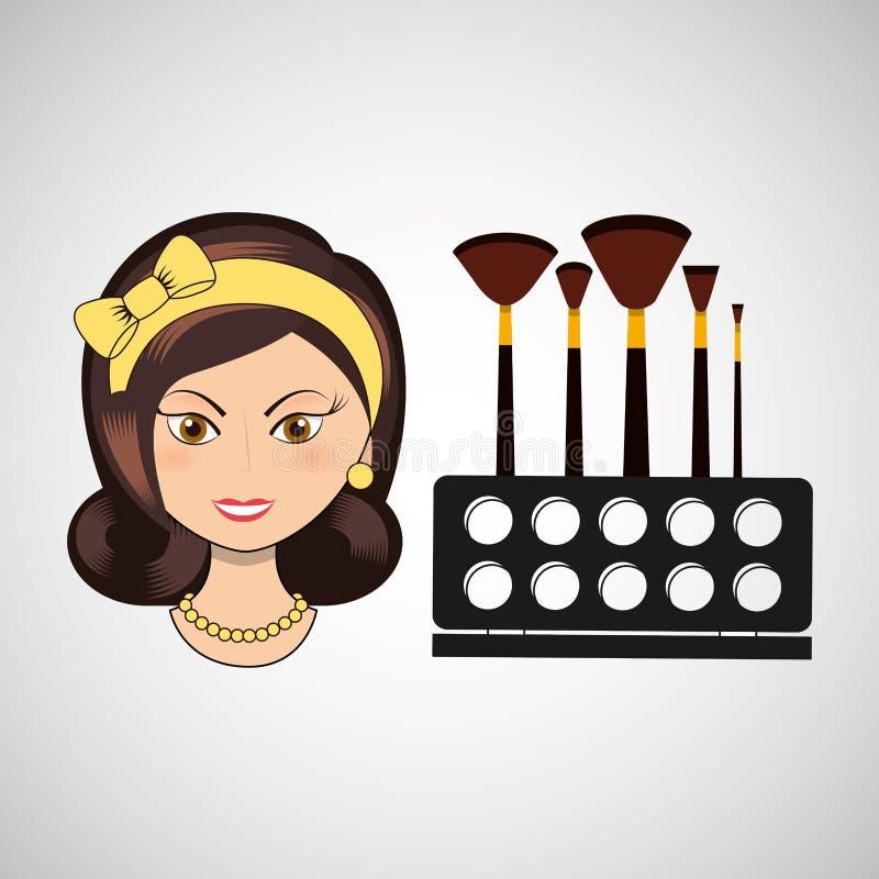 diseño femenino del maquillaje stock de ilustración