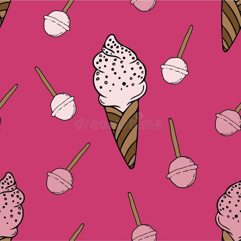 Diseño femenino del modelo de los niños modernos de los caramelos y del helado stock de ilustración
