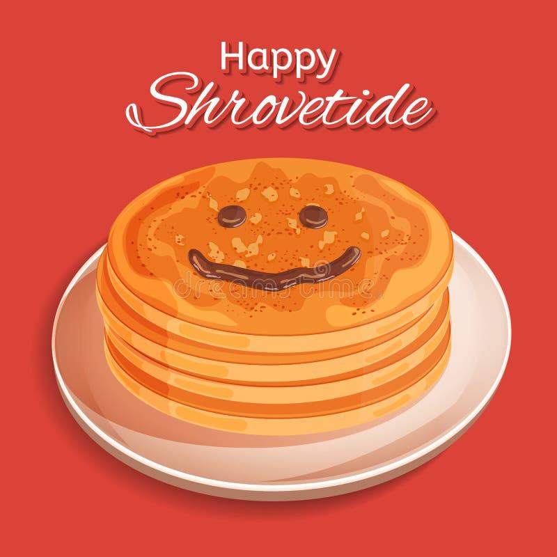 Diseño festivo de Shrovetide Semana de la crepe Una pila de crepes en una placa Cara sonriente dibujada con el desmoche del choco ilustración del vector