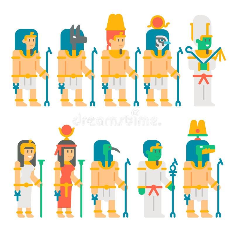 Diseño fijado dioses egipcios antiguos de la historieta libre illustration