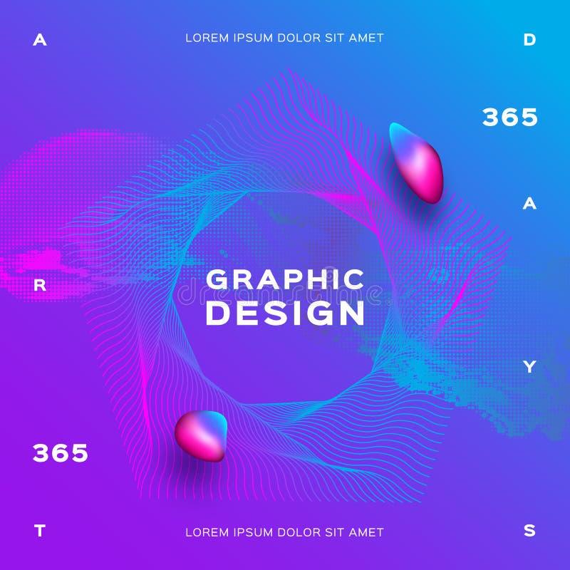 Diseño flúido de moda del cartel del fondo púrpura azul Dinámica líquida de las partículas que brilla intensamente Vector el fond ilustración del vector