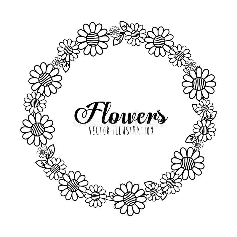 Diseño floral blanco y negro libre illustration