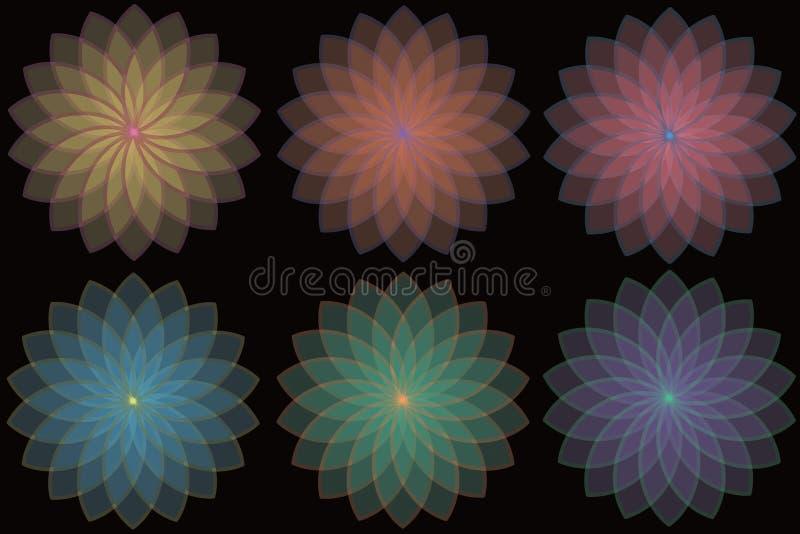 Diseño floral colorido separado en fondo negro libre illustration