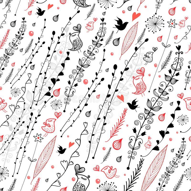 Diseño floral con los pájaros stock de ilustración