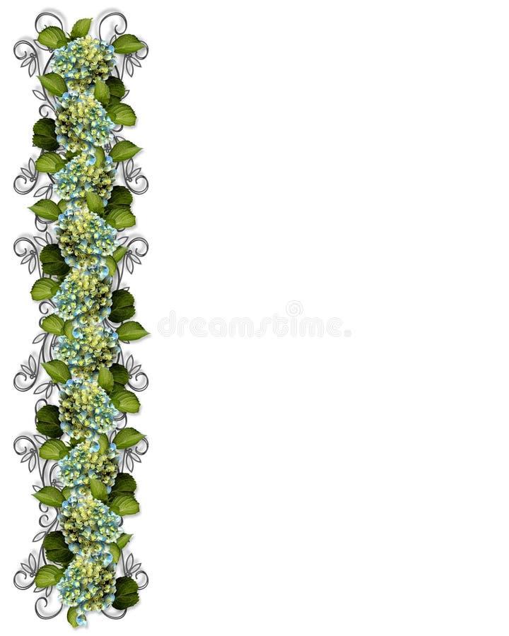Diseño floral de la frontera del Hydrangea stock de ilustración