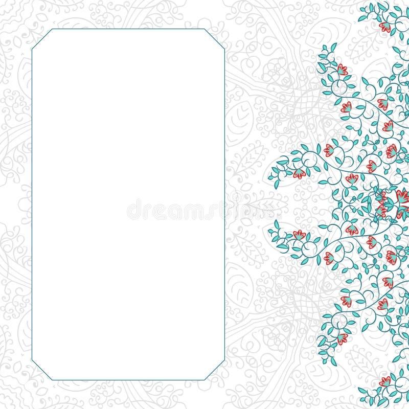 Diseño floral de la plantilla de la tarjeta del remolino stock de ilustración