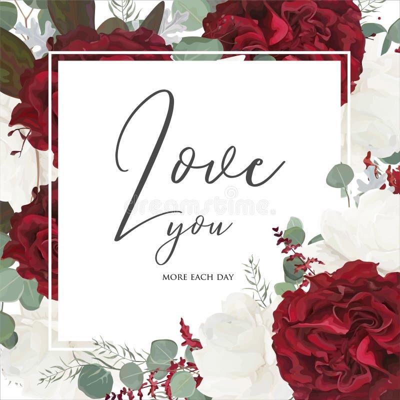 Diseño floral de la tarjeta de felicitación del vector con el jardín rojo y blanco ROS stock de ilustración