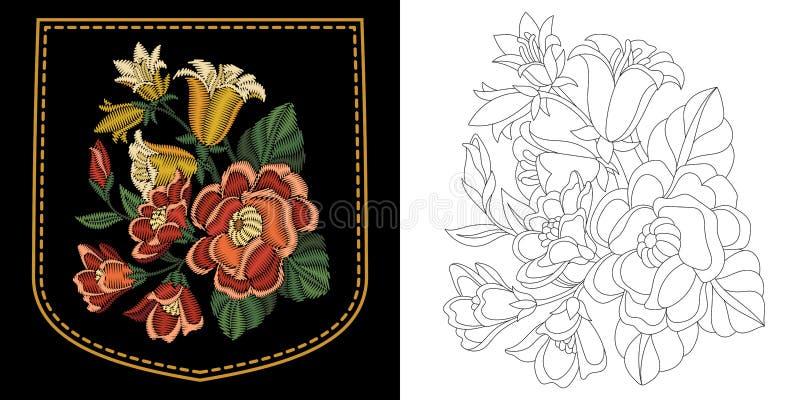 Diseño floral del bordado stock de ilustración