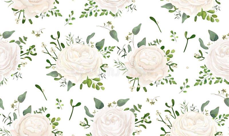 Diseño floral del estilo de la acuarela del vector inconsútil del modelo: jardín w libre illustration