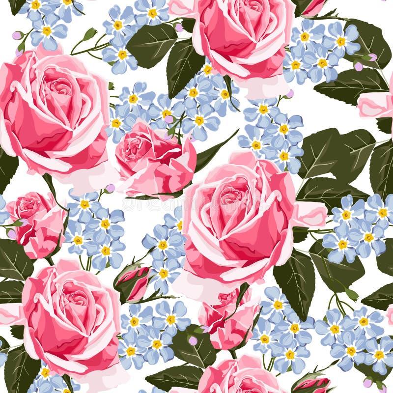 Diseño floral del estilo de la acuarela del vector inconsútil del modelo, rosas rosadas y flores azules de la nomeolvides stock de ilustración