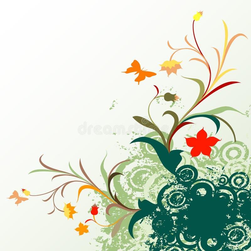 Diseño floral del grunge stock de ilustración