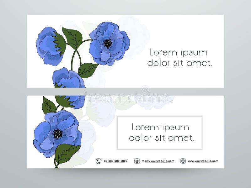 Diseño floral del jefe o de la bandera del web ilustración del vector
