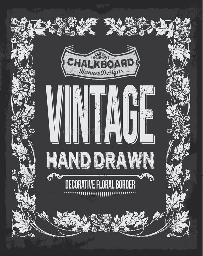 Diseño floral del vector de la pizarra del vintage Ilustración drenada mano stock de ilustración