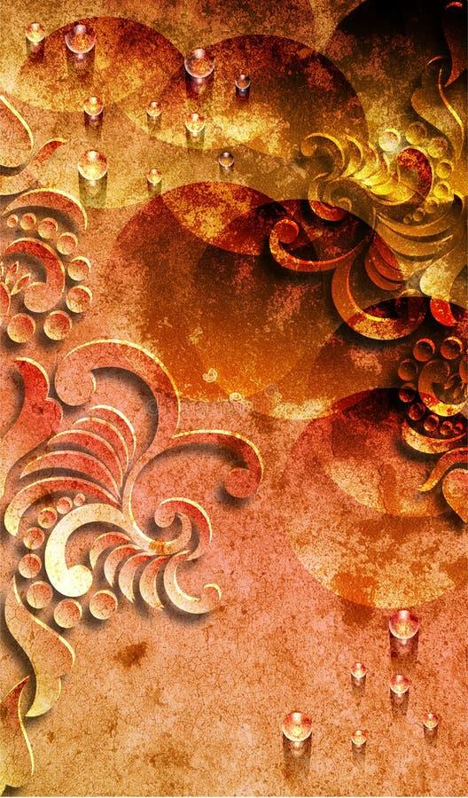 Diseño floral del vintage con DESCENSO del AGUA stock de ilustración