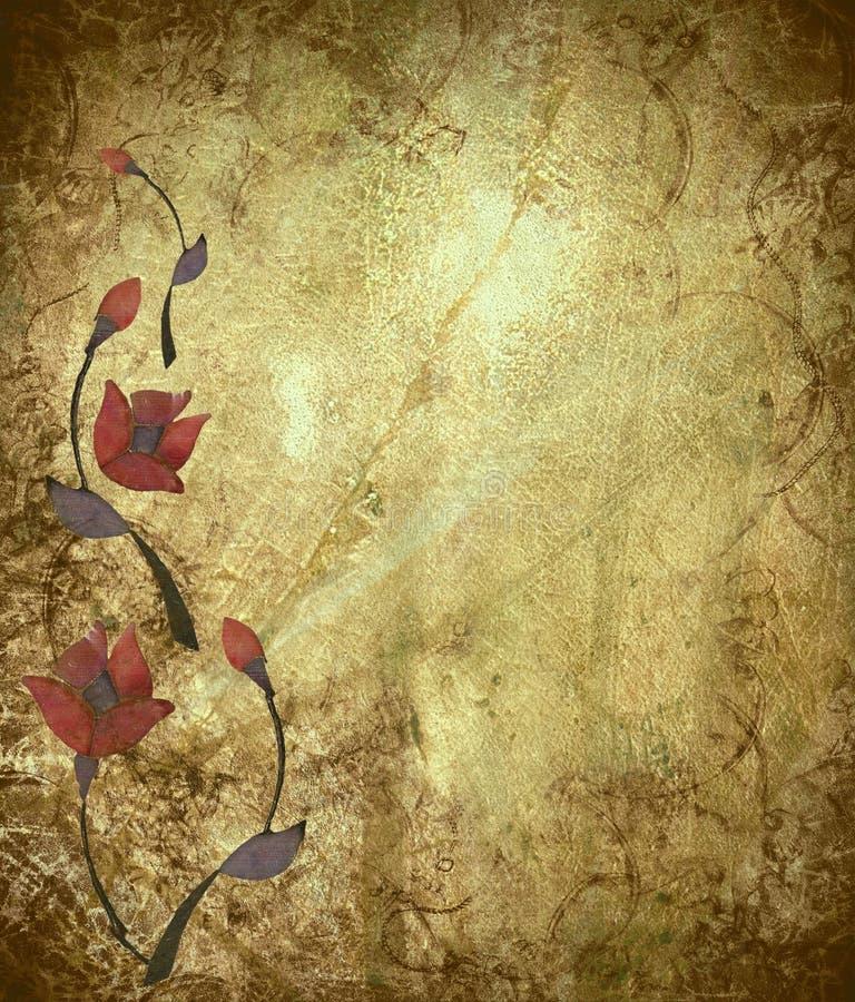 Diseño floral en el fondo antiguo de Grunge ilustración del vector