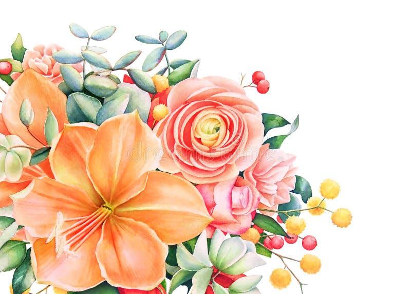 Diseño floral hermoso con el ramo dibujado mano de la acuarela libre illustration