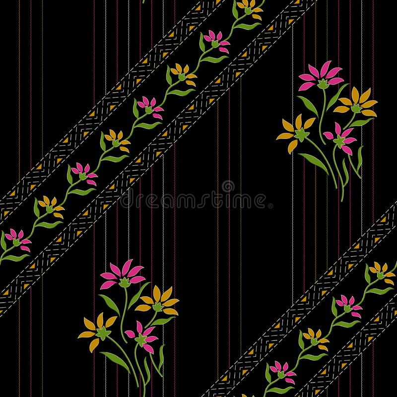 Diseño floral hermoso inconsútil con el fondo negro stock de ilustración