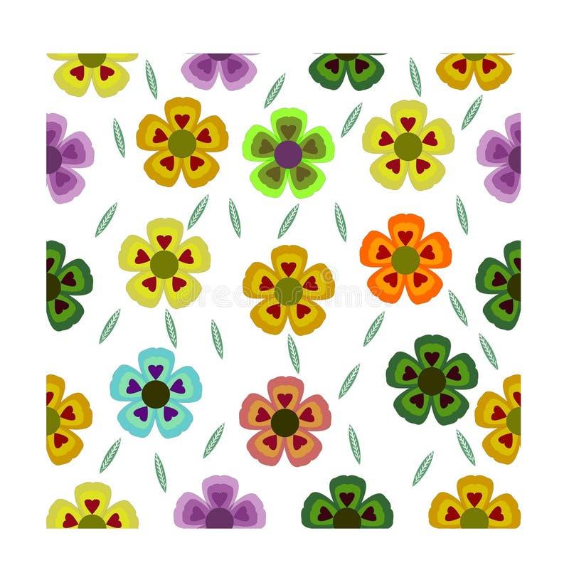 Diseño floral inconsútil del modelo con diverso color aislado en el fondo blanco Moda, fondo, papel pintado Vector ilustración del vector