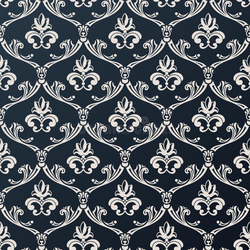 Diseño floral inconsútil del negro del vector del fondo del papel pintado del vintage stock de ilustración