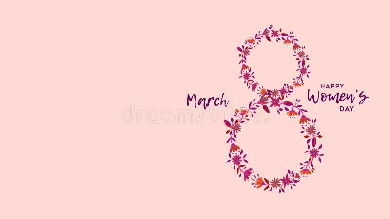 Diseño floral para mujer feliz de la celebración del día ilustración del vector