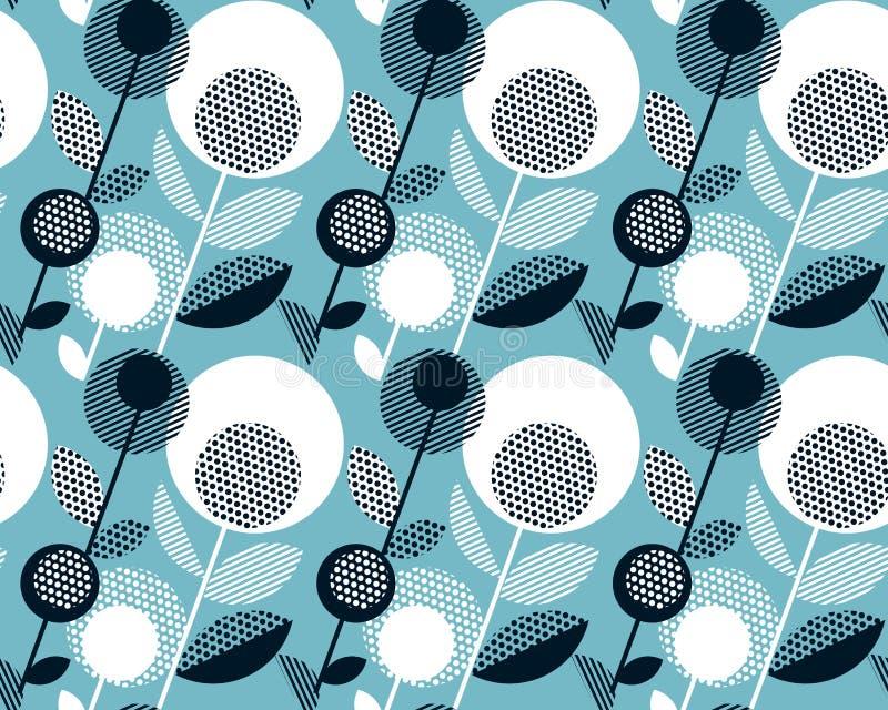 Diseño floral retro del vintage blanco y negro geométrico libre illustration