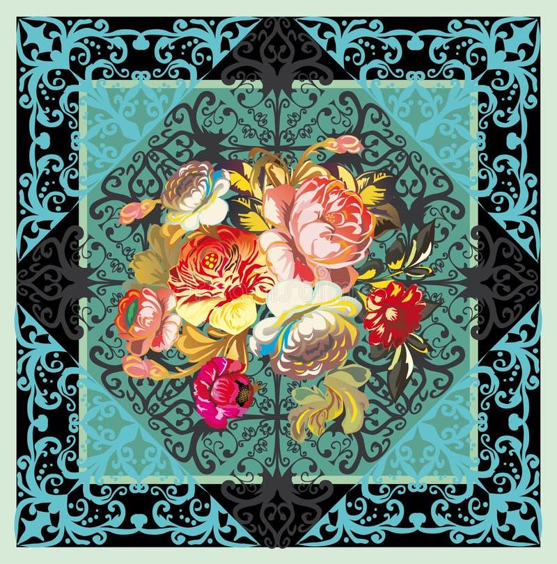 Diseño floral rojo en azul ilustración del vector