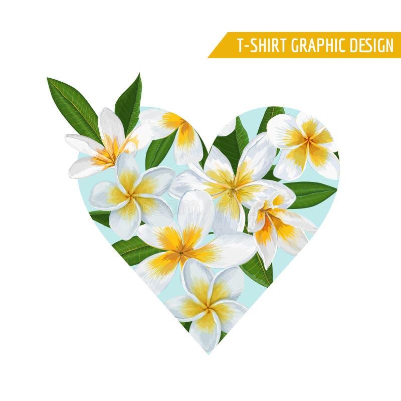 Diseño floral romántico con las flores blancas del Plumeria para las impresiones, tela, camiseta, carteles del verano de la prima stock de ilustración