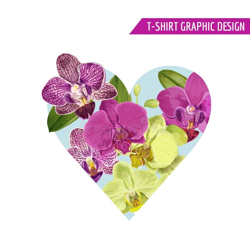 Diseño floral romántico con las flores púrpuras de la orquídea para las impresiones, tela, camiseta, carteles del verano de la pr libre illustration