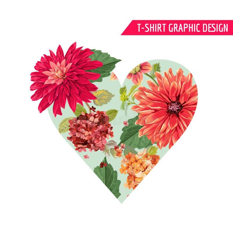 Diseño floral romántico con las flores rojas de los asteres para las impresiones, tela, camiseta, carteles del verano de la prima ilustración del vector