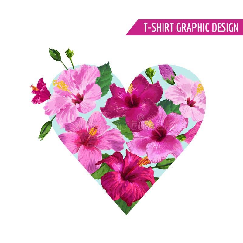 Diseño floral romántico con las flores rosadas del hibisco para las impresiones, tela, camiseta, carteles del corazón del amor Pr stock de ilustración
