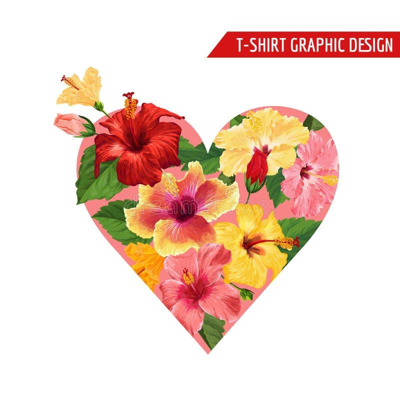 Diseño floral romántico del corazón del amor con las flores rojas y amarillas del hibisco para las impresiones, tela, camiseta, v libre illustration