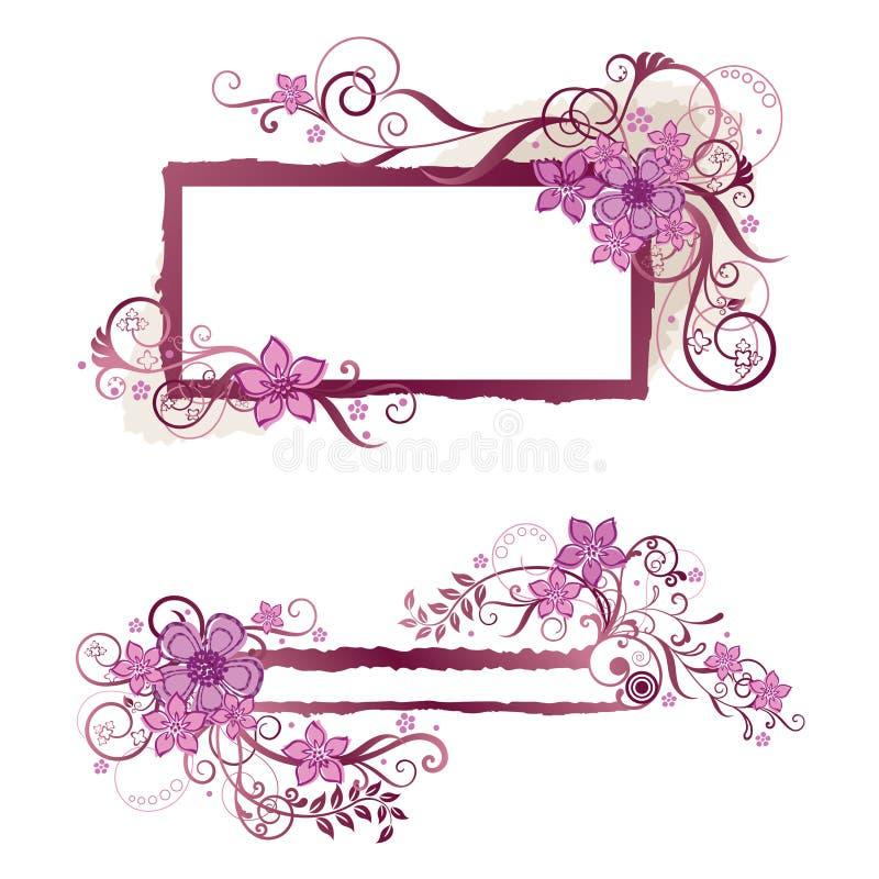 Diseño floral rosado del marco y de la bandera stock de ilustración