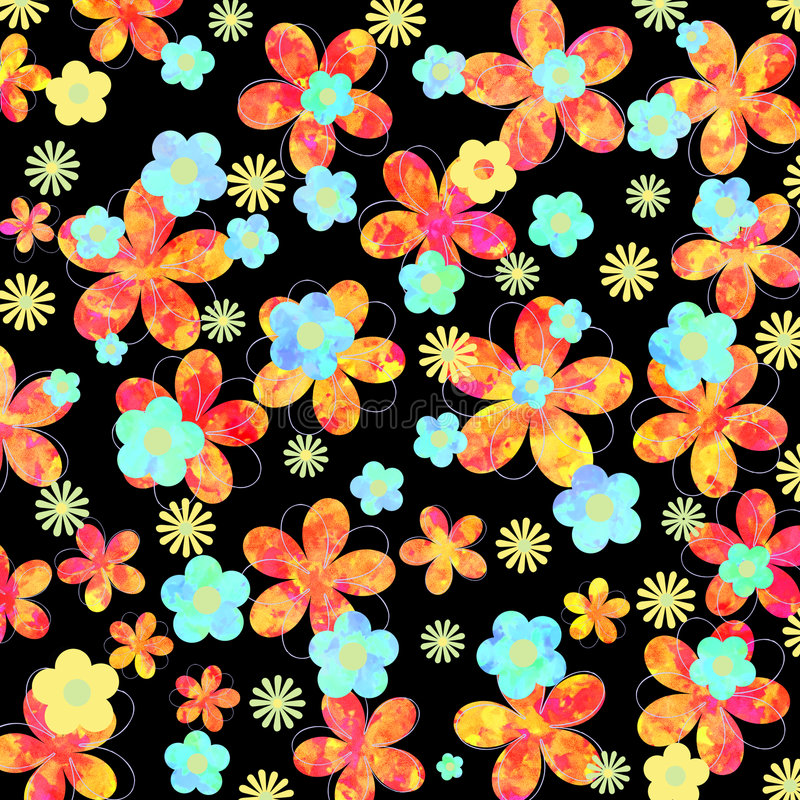 Diseño floral vibrante en fondo negro ilustración del vector