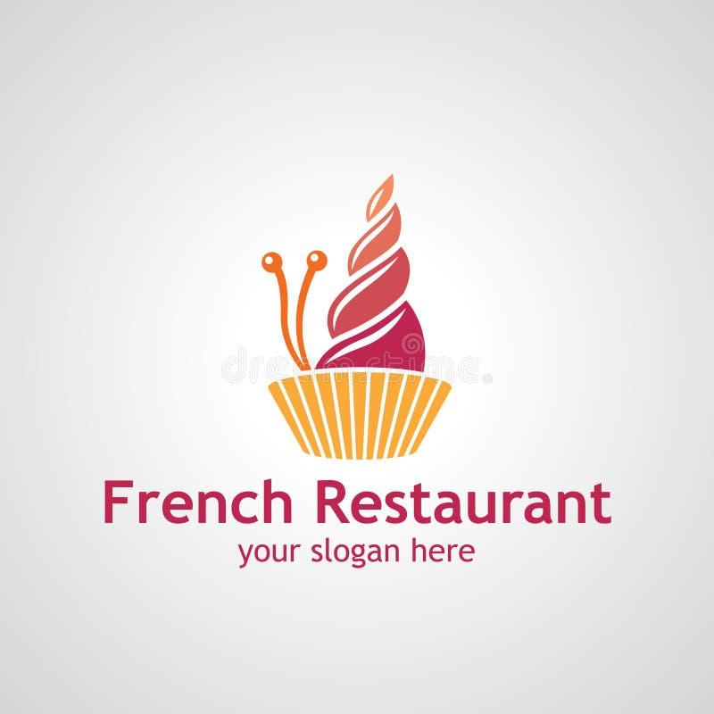 Diseño francés del logotipo del vector del restaurante stock de ilustración