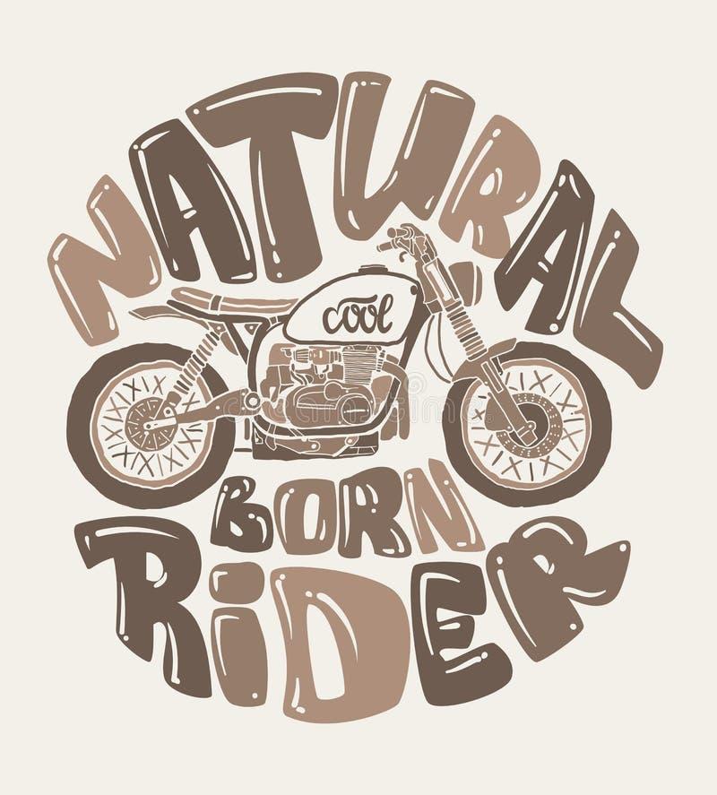 Diseño fresco de la impresión de la motocicleta, ejemplo del vector libre illustration