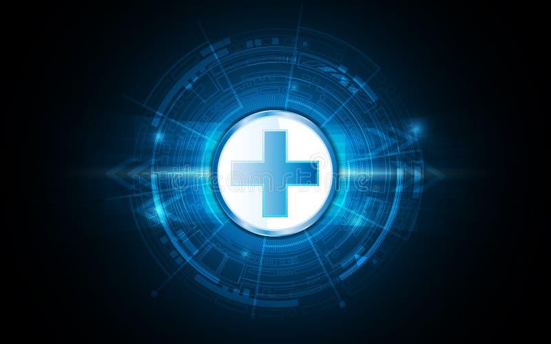 Diseño futurista de la atención sanitaria de la innovación del fondo médico abstracto del concepto stock de ilustración