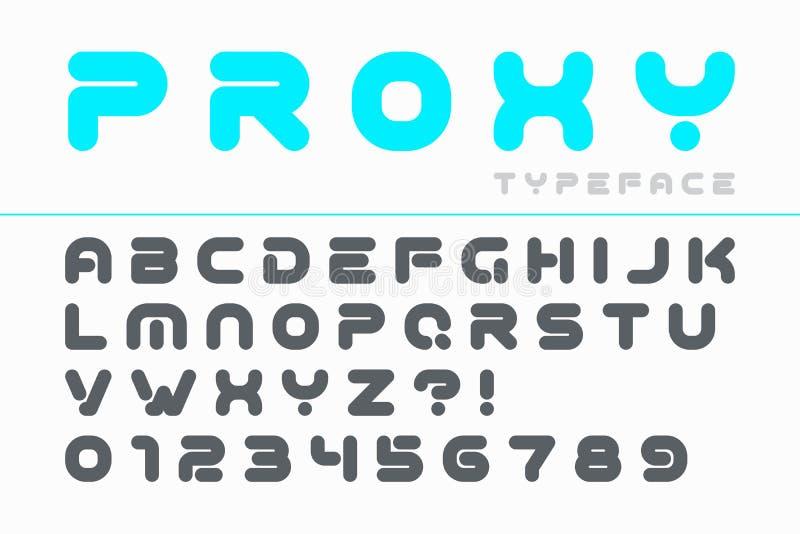 fuente futurista del alfabeto stock de ilustraci u00f3n