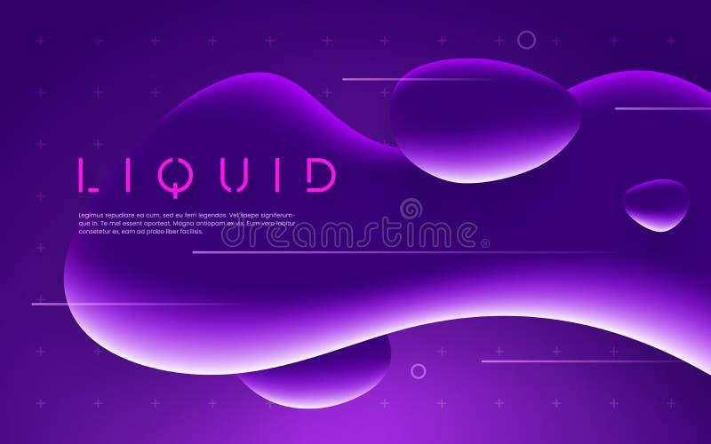 Diseño futurista ultravioleta con las formas líquidas de neón de la burbuja Ilustración del vector ilustración del vector