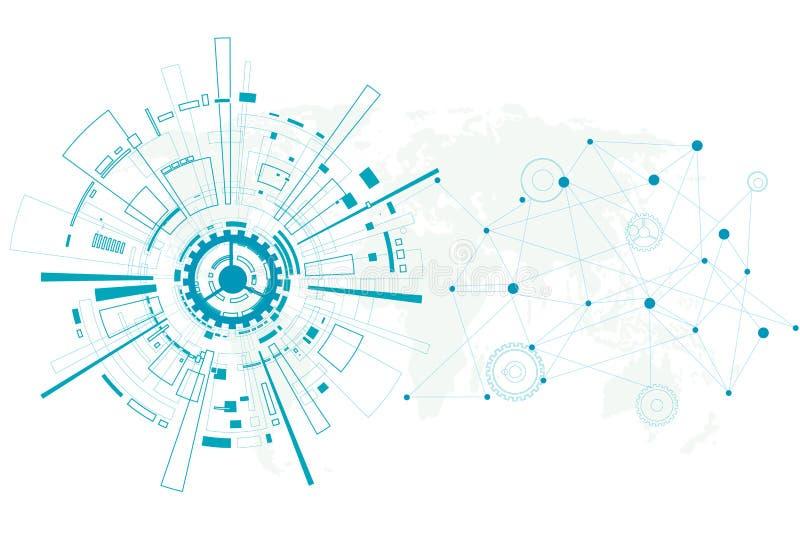 Diseño futuro abstracto de la tecnología del vector en el fondo blanco stock de ilustración