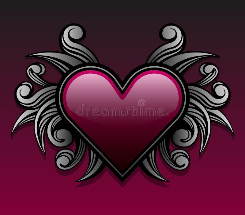 Diseño gótico púrpura del corazón stock de ilustración