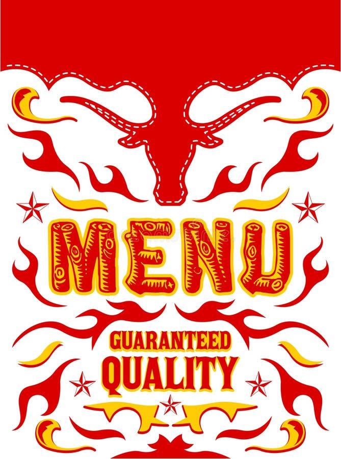 Diseño garantizado menú del vector del restaurante de la parrilla de la calidad stock de ilustración