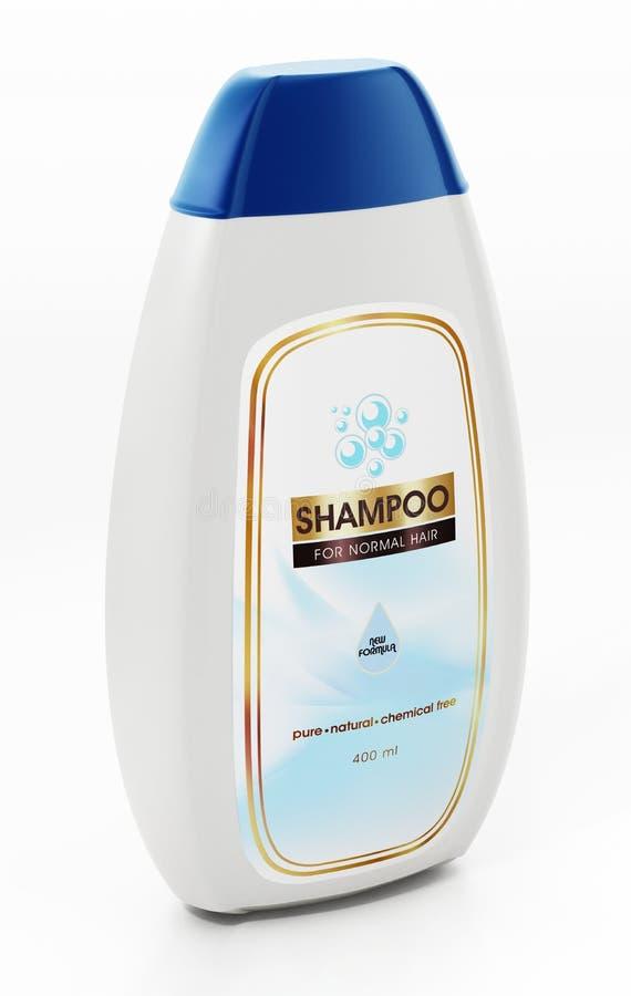 Diseño genérico de la botella y de la etiqueta del champú aislado en el fondo blanco ilustraci?n 3D ilustración del vector