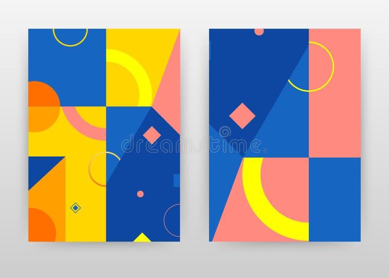 Diseño geométrico amarillo azul del fondo del negocio de las formas para el informe anual, folleto, aviador, cartel Folleto abstr ilustración del vector