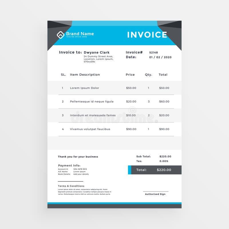 Diseño geométrico azul de la plantilla de la factura del negocio libre illustration